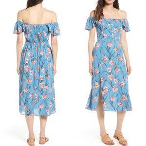 Band of Gypsies Blue Floral Off Shoulder Dress